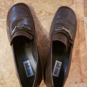 Brown loafer style shoes